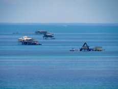 Stiltsville vu depuis le phare du Cape Florida State Park, sur l'île de Key Biscayne (Miami en Floride)