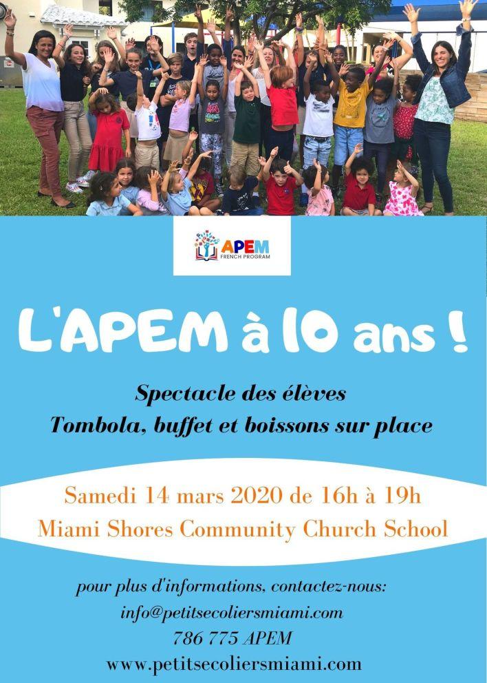 Une fête pour les 10 ans de Petits Ecoliers Miami (APEM) !
