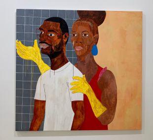Peinture de Nina Chanel Abney au Rubell Museum de Miami (collection privée d'art contemporain)