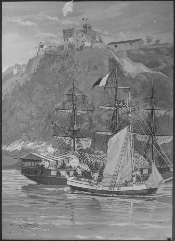 L'USS Constitution aborde et capture le corsaire français Le Sandwich