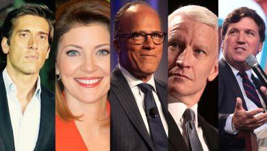 David Muir (ABC), Norah O'Donnell (CBS), Lester Holt (NBC), Anderson Cooper (CNN) et Tucker Carlson (Fox News)