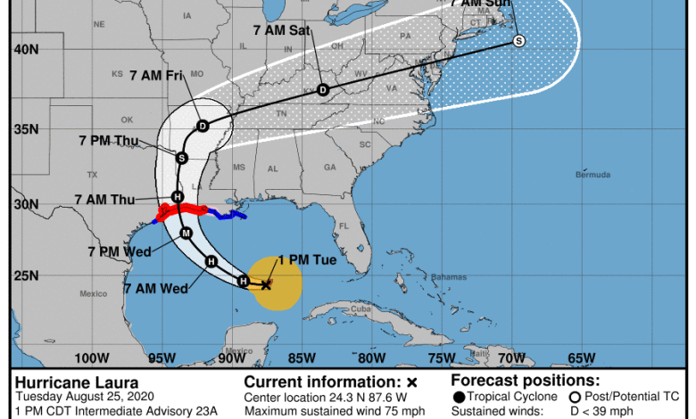 La prévision de l'ouragan Laura mardi à 13h.