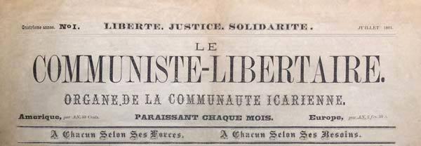 Le journal Le Communiste-Libertaire publié à l'icarie de Corning.