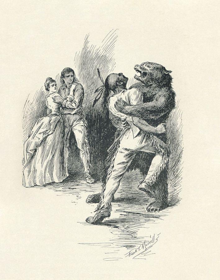 Illustration publiée dans l'édition de 1896. du livre Le dernier des Mohicans.