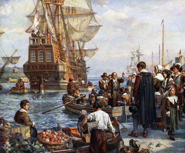 Le débarquement des pilgrims puritains du Mayflower sur le site de New Plymouth