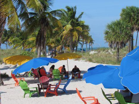 Le sud de la plage de Crandon Park, sur l'île de Key Biscayne à Miami