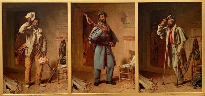 """""""Le contrebandier, la recrue, le vétéran"""", par Thomas Waterman Wood (1865-66) au Metropolitan Museum of Art de New-York"""