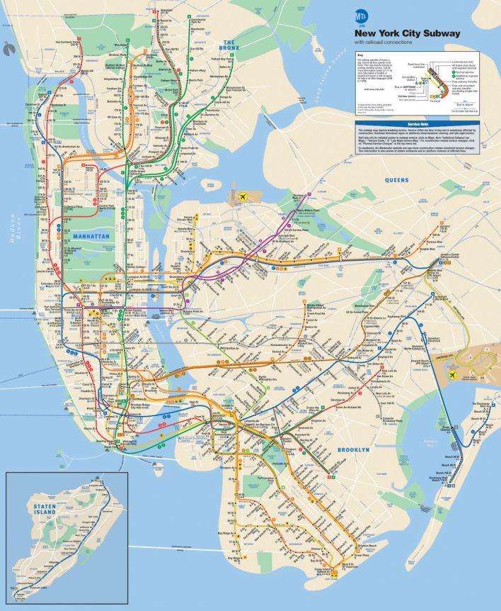 Plan, carte, du métro de New-York