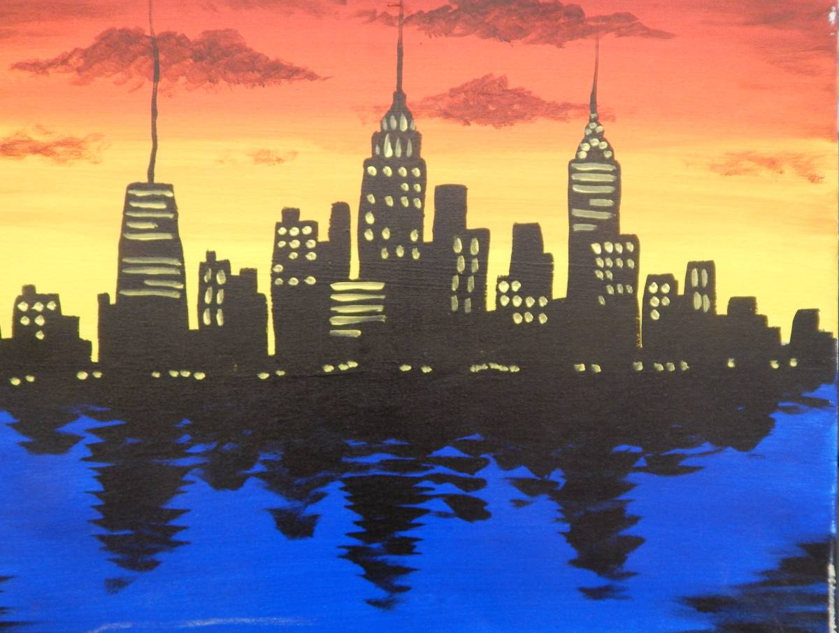 BYOB Painting  NYC Skyline   BYOB Painting Classes New York     BYOB Painting  NYC Skyline