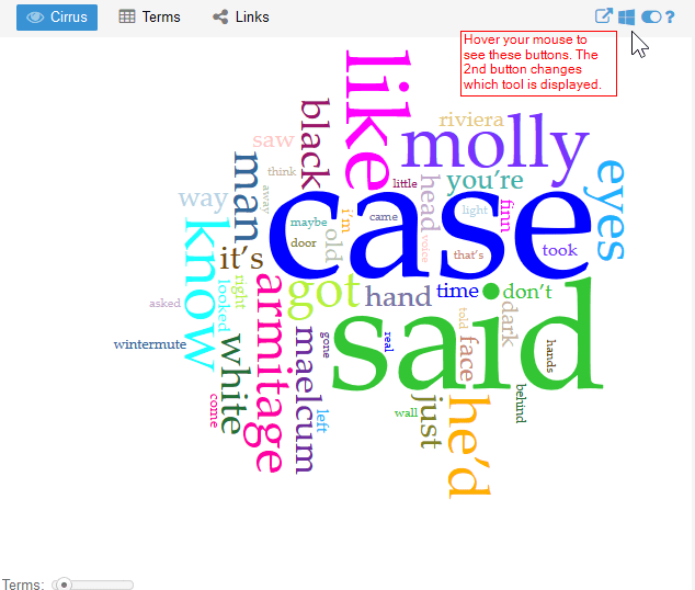 Screenshot of a Voyant word cloud