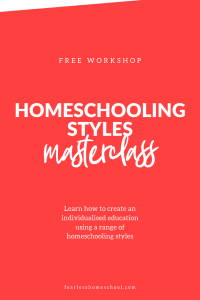 Homeschooling Styles – a free workshop | Fearless Homeschool Learn how you can ditch the drudgery and have a fun, engaging, and crazily educational homeschool in this free masterclass. Learn how to integrate styles like classical homeschooling, unschooling, Steiner/Waldorf, Charlotte Mason and Montessori to create a truly personalised education at home.