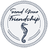 Send Your Friendship Logo a circle of nautical rope with SEND YOUR FRIENDSHIP and a seahorse below it resembling a postage cancellation mark