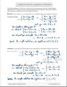 savoir comment resoudre systeme equations par combinaison - exemples