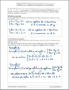 comment resoudre definition systeme deux 2 equations deux 2 inconnues