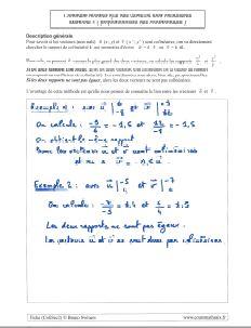 methode comment montrer vecteurs colineaires avec proportionnalite coordonnees