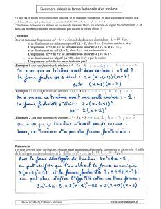 trinome du second degre comment faire obtenir avoir forme factorisee