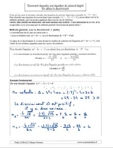 le discriminant comment resoudre une equation du second degre la methode