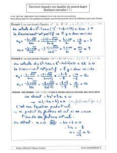 le discriminant comment resoudre une equation du second degre des exemples ( 1 )