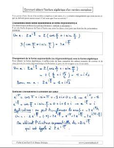 comment savoir obtenir ecriture algebrique en partant ecriture exponentielle ou trigonometrique