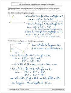 comment utiliser pythagore avec figures avec plusieurs triangles rectangles