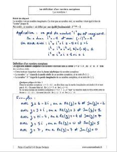 la definition d un nombre complexe - partie relle et imaginaire - le nombre i -