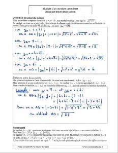 comment savoir calculer calcul module nombre complexe - distance entre deux points