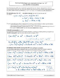 comment utiliser identité égalité remarquable ( a - b ) ² pour développer - méthode et exemples