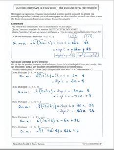 le développement d'une expression : des exemples pour développer une écriture littérale et algébrique