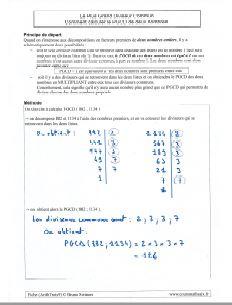 le PGCD - comment calculer le Plus Grand Diviseur Commun - la methode