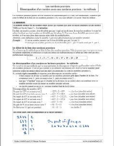 les nombres premiers - definition et liste - savoir décomposer - la methode