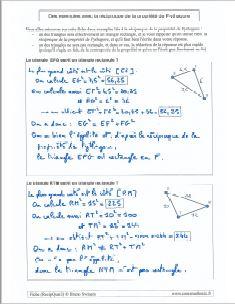 des exemples avec la reciproque de la propriete de pythagore - comment montrer qu un triangle est rectangle