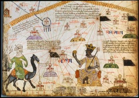 The Catalan Atlas (1375) depicting Mansa Musa holding gold