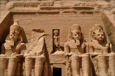 The Ramsess II Statues at Main Entrance to Abu Simbel Temple in Egypt