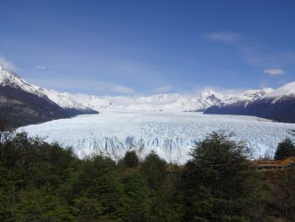 """The national park has built a series of beautiful raised walkways and stairs - referred to as """"The Balconies"""" - into the side of the peninsula that faces the Perito Moreno's eastern edge. The Balconies are elegantly constructed into the hillside, offering incredible access without taking away from the views."""