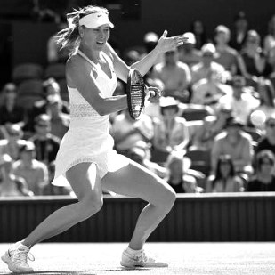 Maria Sharapova in a graphic textured & translucent at midriff & skirt dress by Nike Court