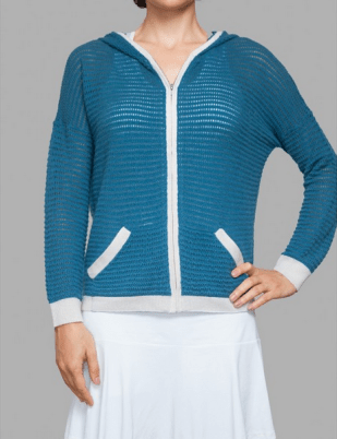 L'Etoile Sport cashmere POINTELLE STRIPE HOODIE, on sale for $173 (50% off sale on now!) at letoilesport.com