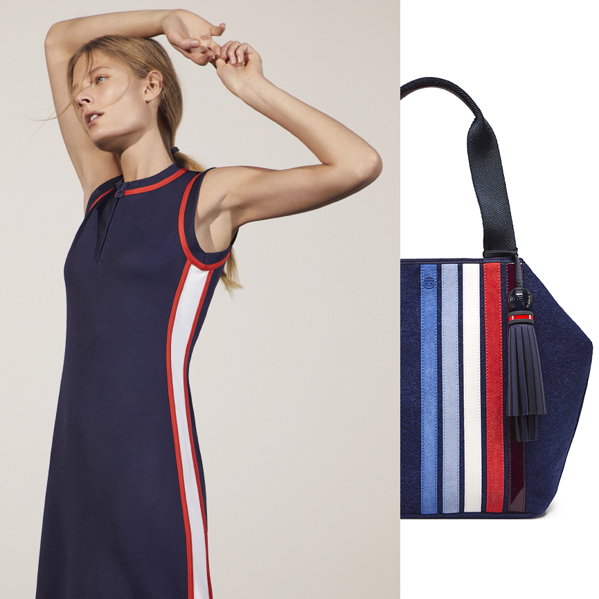 93f2335cb107 TORY SPORT   LOOK 9  Sleeveless Track Dress in Tory Navy Patchwork Triangle  Satchel in Navy