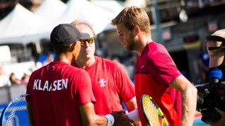 Raven Klaasen and Ryan Harrison with San Diego Aviators Coach John Lloyd