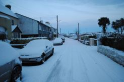 Snow in the village - not a sinner about !