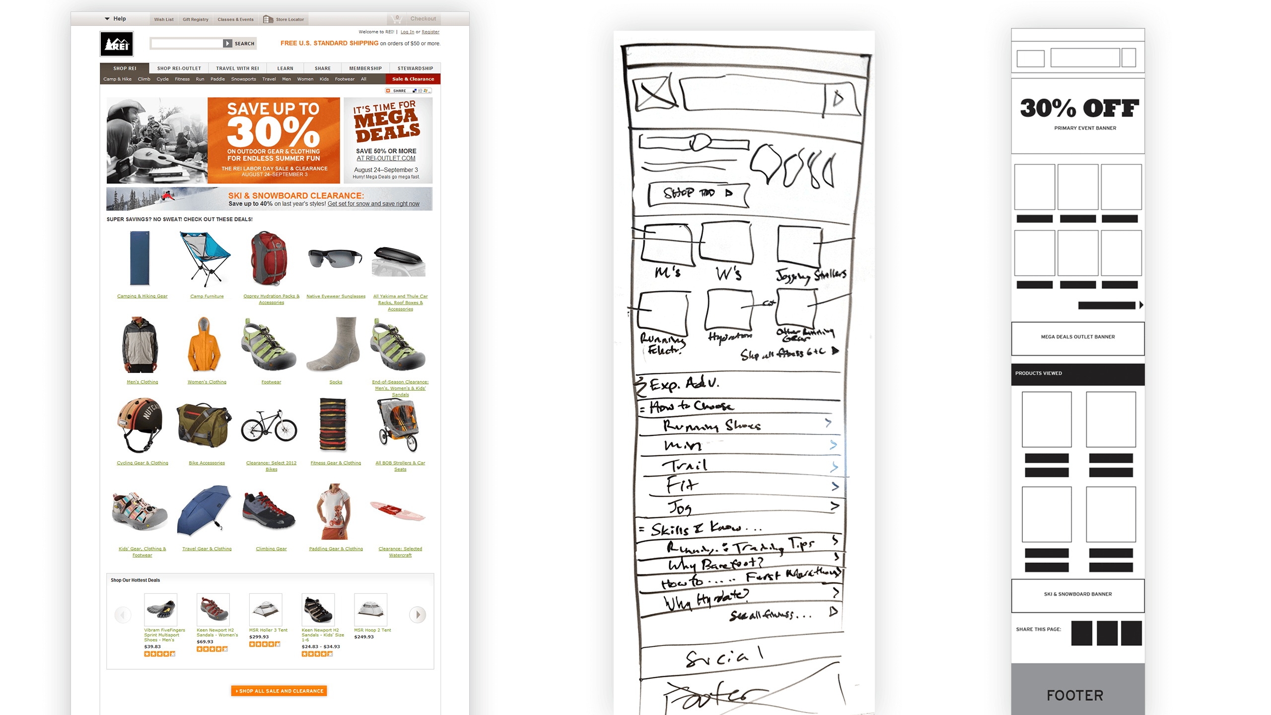 Design process, full site image, whiteboard sketch, and wireframe of mobile experience