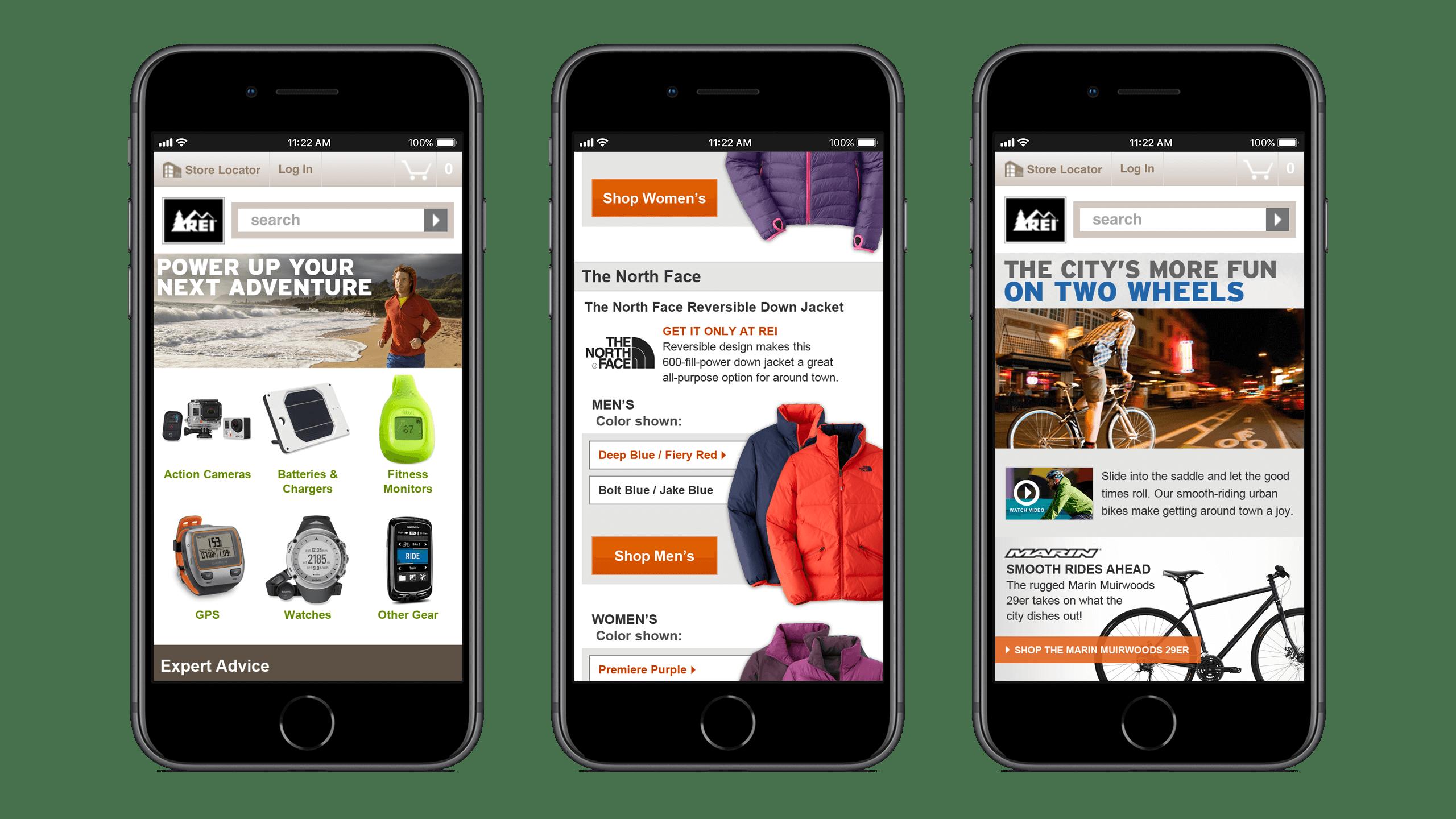 REI mobile retail campaign landing page designs, Courtney Comfort