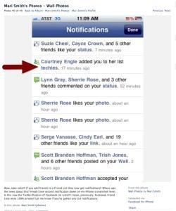 Mari Smith got notified of my list