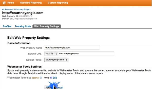 Google Analytics Webmaster Tools Apply