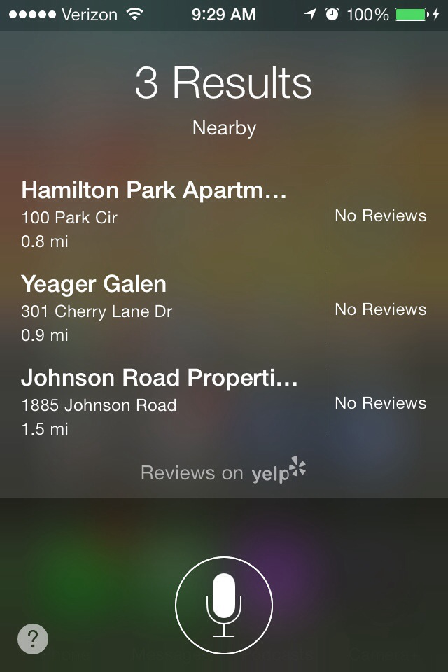 Siri voice search results