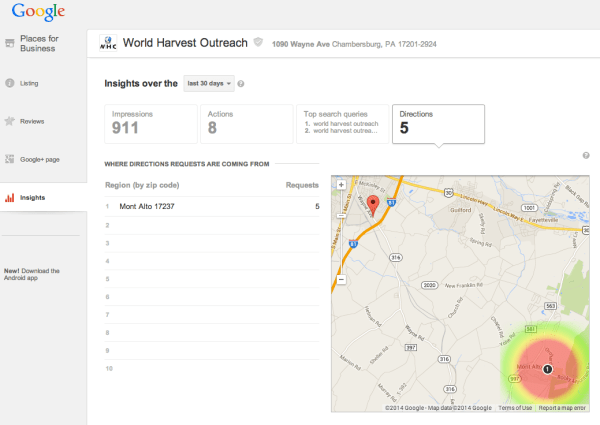 google places insights navigation