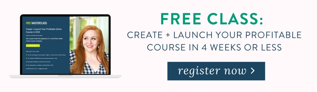 "Take my free class ""The 6-Step System to a Profitable Online Course"""