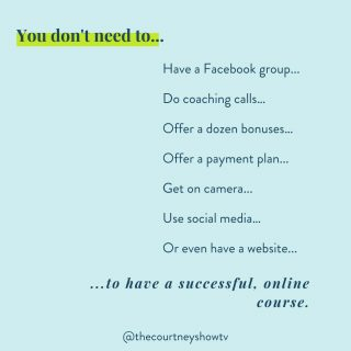 Facts. Those are just features, details, logistics.  At the end of the day, an online course is just like any other product or service that's sold:  It solves a specific problem with a specific solution in a specific timeframe.  You don't need to use social media; there are plenty of other marketing channels out there. You don't need to get on camera; there are plenty of courses with just audio or just PDFs. You don't need a website; this is totally unrelated to your course. You don't need to offer a payment plan, unless you want to! We love payment plans for our students, but if that's not your thing, skip it!  And so on.  Anything else is a detail, or more likely, distraction. 😉  Focus on your solution first, then get it out there to those who need it.  P.S. Want the next steps to getting your course idea out of your head and into the world? Be sure to sign up for our free class where I walk through our complete system: freecourseclass.com . . . . . .  #onlinecoursecreators #onlinecoursetips #onlinecoursecreator #onlinecoursecreationtips #onlinecourselaunch  #onlinecoursecreation #onlinecourseexperts #coursecreators