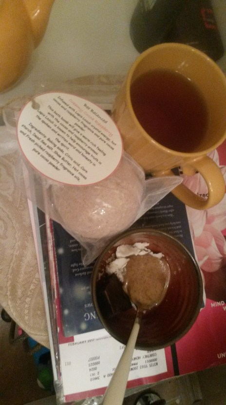 My gorgeous coco raspberry bathbomb from Bronwyn with tea and some almond and coconut butter with unsweetened baker's chocolate
