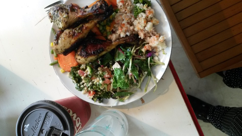 Brunch at 1 was three chimmichurri wings, bulgar salad, beet salad, mashed white and sweet potatoes, and veggies with olives and black coffee.