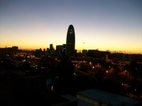 Sunrise behind Torre Agbar from my apartment balcony